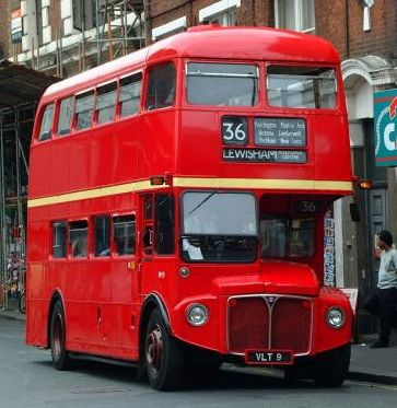 A red double-decker bus from London, UK