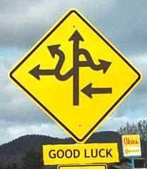 complicated crossroad sign