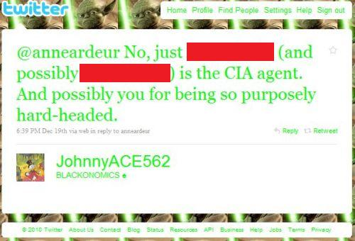 Screenshot of a Twitter @ message to @anneardeur, text reads: No, just [name redacted] (and possibly [name also redacted] is the CIA agent. And possibly you for being so purposely hard-headed.